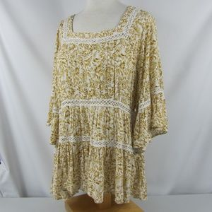 Free People Talk About It Tunic Top Ivory Combo Sm